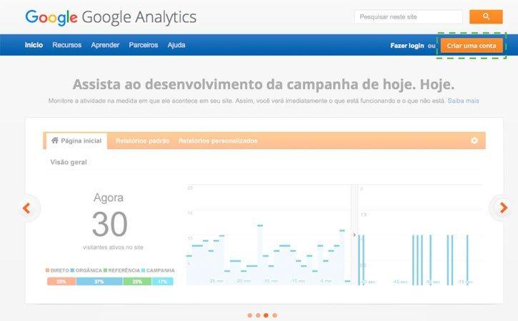 Entrar conta Google Analytics