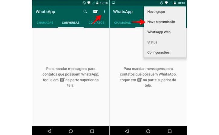 Lista Transmissões Whatsapp