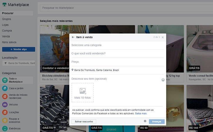 Anúncios Facebook Marketplace